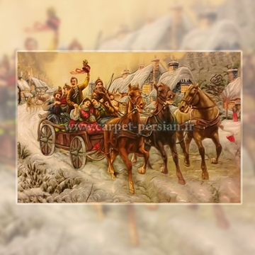 Persian Handmade Pictorial Carpet of the Carriage Riding in the Snow, Persian Tableau Rug,Iranian Hand Woven Pictorial Rug, Persian Tableau Rug, Iranian Hand Woven Pictorial Carpet, Persian Tableau Rug, Woven in Iran